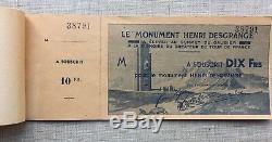 1949, TOUR DE FRANCE GALIBIER Souscription Monument DESGRANGE COMPLET 10 TICKETS
