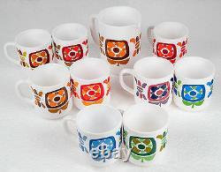 1970 Collection Complete Des 9 Mugs Publicitaires Mobil Avec Leur Pichet Dedie