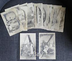 ALPHABET ensemble de 26 cartes alphabet complet femmes enfants RARE