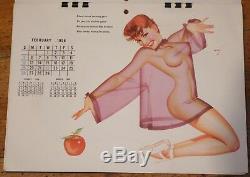 ANCIEN CALENDRIER ESQUIRE 1956 Complet 12 PIN UP de George PETTY Vintage EROTICA