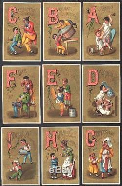 Alphabet complet de 25 chromos. Aubry. Série 723. Vers 1875