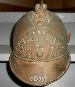 Ancien CASQUE SAPEURS POMPIER 1895 ville st pierre des corps complet
