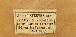 Ancien clitographe niveau de pente à pinnules LEBVRE Paris complet en coffret