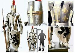 Armure de chevalier médiéval complet en acier inoxydable 1.90 m de hauteur