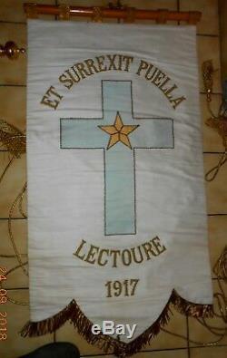 BANNIERE DE PROCESSION drapeau complete avec etui housse etc. NOEL NOEL 1917
