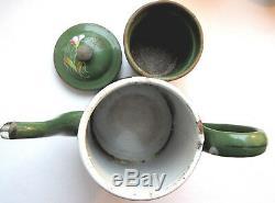 Belle cafetière ancienne verte complète, tôle émaillée de Fleurs et Fougères