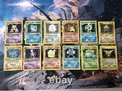Cartes Pokémon Holo set de base presque complet dracaufeu, tortank
