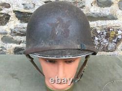 Casque US M1 complet GTM 1ère armée Débarquement de Provence 1944