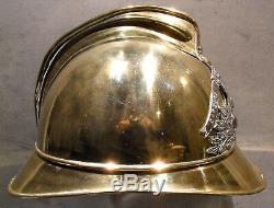 Casque de pompiers en laiton complet, ville de BEAUZAC 1895