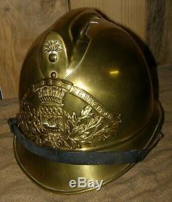 Casque en laiton 1923 sapeurs pompiers de PARIS FLUCTUAT NEC MERGITUR complet