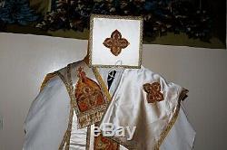 Chasuble De Pretre Romaine Blanche Complete Epoque Xixe Siecle