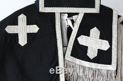 Chasuble Romaine de prêtre complète en soie noire unie XIXe siècle