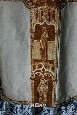 Chasuble romaine de prêtre blanche complète splendide travail de décor XIXe