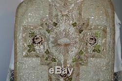 Chasuble romaine de prêtre complète en drap d' argent début XIXe Siècle
