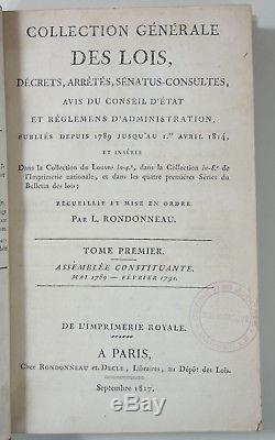 Collection Générale des Lois, Décrets, Arrêtés de 1789 à 1819 32 volumes COMPLET