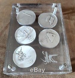 Collection complète 10 pièces en argent de Dali de 1975