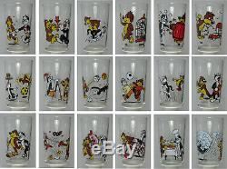 Collection complète des 18 verre verres à moutarde Pif et Hercule