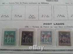 Collection de timbres colonies françaises PORT LAGOS 2 série complètes