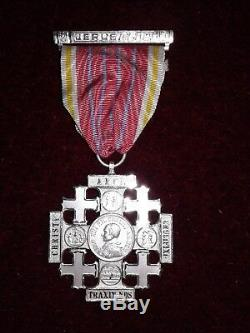 Croix De Jerusalem Argent Massif Leon XIII Complete