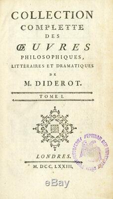 DIDEROT (Denis). Collection complète des uvres philosophiques, littéraires 1773