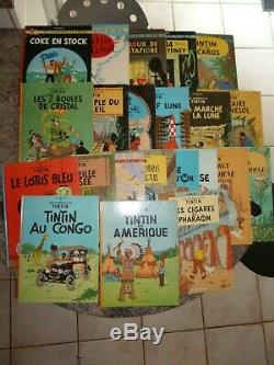 EO 1976 COLLECTION COMPLETE DES 22 ALBUMS DE TINTIN SERIE B années 70 Hergé