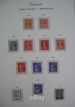 FRANCE COLLECTION COMPLETE TIMBRES DE FRANCHISE MILITAIRE NEUFS xx 1901-1939