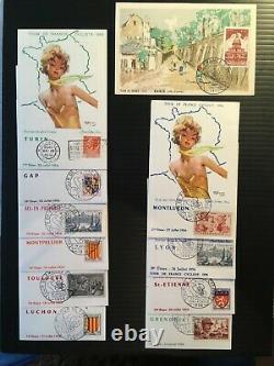 FRANCE Série COMPLETE de 23 cartes'Tour de France Cycliste 1956' Utrillo