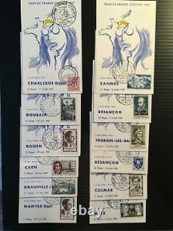 FRANCE Série COMPLETE de 23 cartes'Tour de France Cycliste 1957