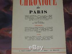 LA CHRONIQUE DE PARIS du N° 1 au N° 9 Collection complète 1943-1944