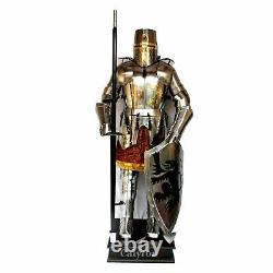 Laiton Plaqué Acier Médiévale Complet Suit De Armor Bouclier/Jupe/Combat II