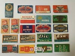 Lot anciennes lames de rasoir publicitaire et des etuis complet
