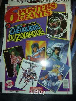 Lot de 6 posters géant n°1 LES CHEVALIERS DU ZODIAQUE Masami Kurumada 1986 TBE