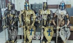 Médiévale Knight Complet Suit De Armor Templier Crusader Acier Inoxydable Lot 4