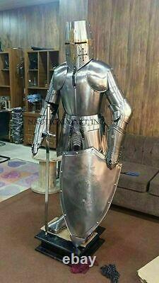 Médiévale Knight Suit De Armor Templier Combat Complet Corps Armure avec Socle