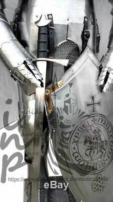 Médiévale Knight Suit de Templier Toledo Armor Décor Complet Corps Armure Main