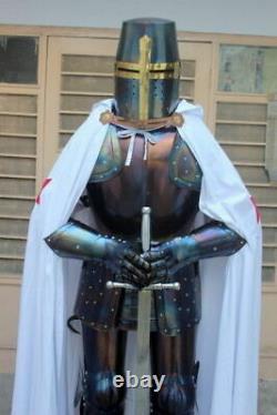 Médiévale Knight Wearable Suit De Armor Crusader Templier Complet Corps Armure