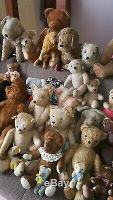Ours anciens vintage, collection complète en bon état. Mohair, paille de bois