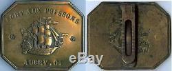 Plaque de métier PARIS fort aux poissons AUBRY C. Modèle 1853 laiton complet