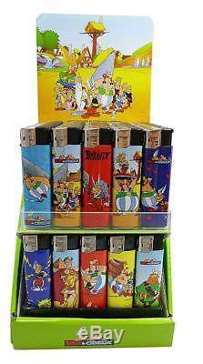 Presentoir Complet De 100 Briquets Asterix Au Gaz Rechargeables