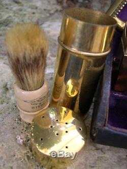 RARE ensemble complet de rasoir Gillette, plaqué or 1920