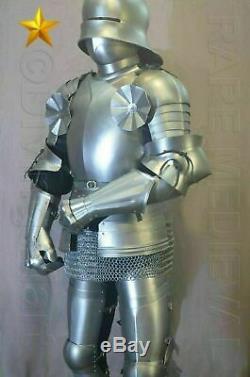 Rare Sca Larp Médiévale Gothique Knight Complet Suit de Armor 16th Siècle Chaîne