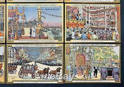Rare Série Complète de 12 Chromos Visite du Tsar Nicolas II en 1900 / Russie