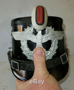 Rare shako de la Police, Allemagne, 2 ème guerre, complet, parfait état, complet