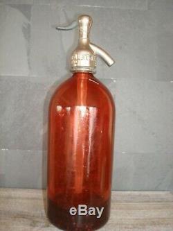 Rare siphon en verre rouge, eau de Seltz, complet, très bon état/ bistrot, bar