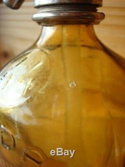 Rare siphon en verre vert-jaune, eau de Seltz, très bon état, complet/bistrot, bar