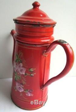 SUPERBE cafetière 1900, complète, tôle émaillée rouge Bouquet de roses roses