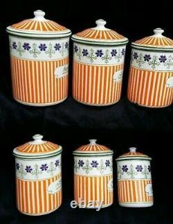 SUPERBE série complète de 6 POTS tôle émaillée comme les cafetières décor relief