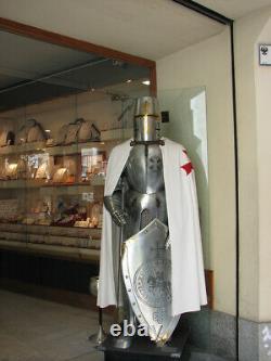 Sca Médiévale Suit De Armor 17th Siècle Templier Complet Corps Armure Avec Socle