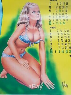 Très rare Calendrier 1971 de Aslan pin up complet superbe état