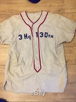 Uniforme de baseball complet 130th US Army WW2 1944 Noel